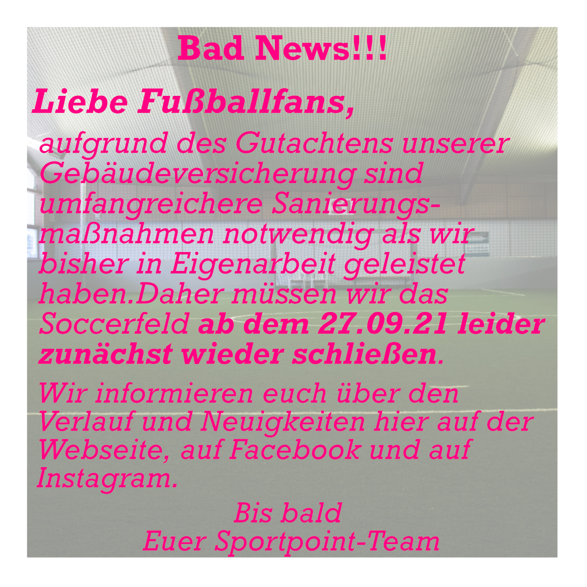 Soccer Sportpoint Meckenheim Sanierung