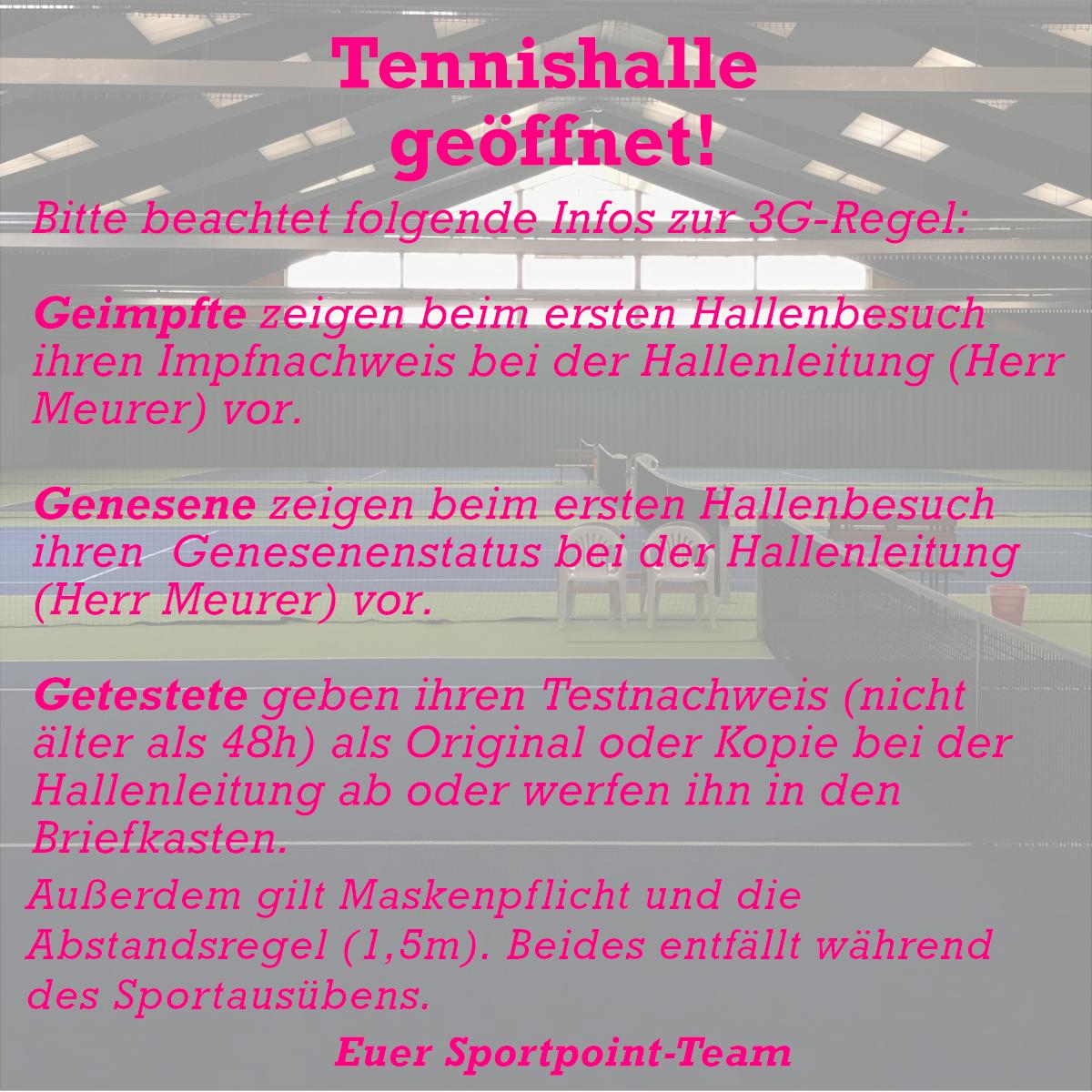 Tennishalle Meckenheim geöffnet